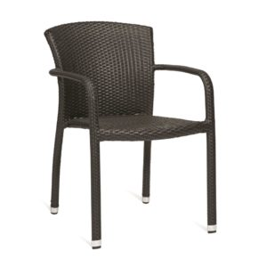 Contemporary wicker effect outdoor stackable armchair, quality manufactured in Europe.