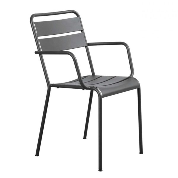 Contemporary outdoor metal armchair, quality manufactured in Europe.