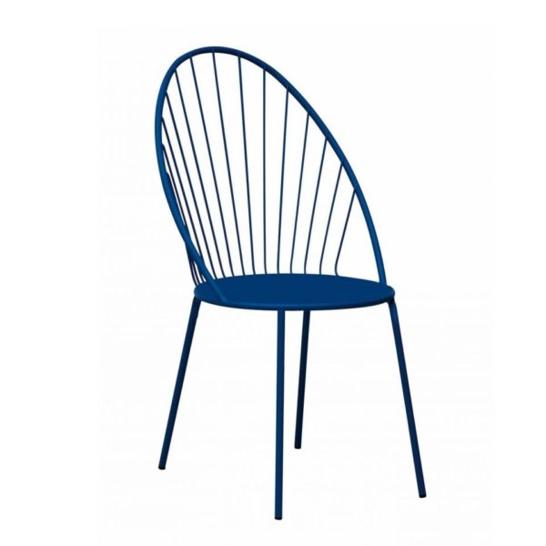 Contemporary outdoor metal side chair, quality manufactured in Europe.